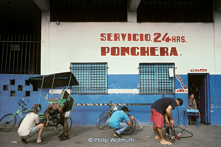 24 hour puncture repair centre in Old Havana.  Bicycles are an essential form of transport; car ownership is restricted and beyond the means of many.