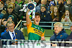 Kerry Captain, Paul O'Shea lifts the cup after winning the Eirgrid Munster U20 football Championship Final against Cork at Austin Stacks Park, Tralee last Wednesday March 4.