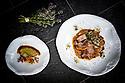 1/07/18 - PONT D ALLEYRAS - HAUTE LOIRE - FRANCE - Etablissement Le Haut Allier. Agneau et artichaut, recette preparee par Philippe Brun, une etoile au Michelin - Photo Jerome CHABANNE