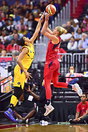 Washington, DC - August 17, 2018: Washington Mystics guard Elena Delle Donne (11) hits a fade away jump shot over Los Angeles Sparks forward Candace Parker (3) during game between the Washington Mystics and Los Angeles Sparks at the Capital One Arena in Washington, DC. (Photo by Phil Peters/Media Images International)