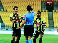 Wellington's Andrija Kaluderovic(left) and Roy Krishna react to a decision during the A-League football match between Wellington Phoenix and Sydney Wanderers at Westpac Stadium in Wellington, New Zealand on Saturday, 13 January 2018. Photo: Mike Moran / lintottphoto.co.nz