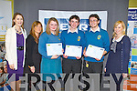BRAINIACS: Students of Mercy Mounthawk, Tralee 6th year class who came 2nd in the Kerry science teachers association secondary school science quiz at the IT Tralee south campus on Thursday l-r: Stephanie Leonard (KSTA), Mary Enright (teacher), Christine Mullins, Donnchadh MacGarry, Conor Higgins and Marie Rohan (Kerry Group).