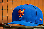 5 April 2018: A New York Mets Cap rests in the dugout between innings of a game against the Washington Nationals during the Nationals' Home Opener at Nationals Park in Washington, DC. The Mets defeated the Nationals 8-2 in the first game of their 3-game series. Mandatory Credit: Ed Wolfstein Photo *** RAW (NEF) Image File Available ***