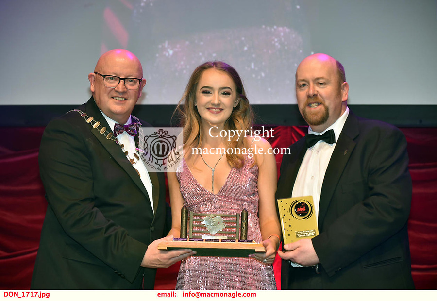 16-6-2019:  Ashton Murphy- Sarah Brown-Guys& Dolls- Londonderry Musical Society, Derry Northern Ireland  winner of the Best Female Singer award at the annual AIMS (Association of Irish Musical Societies) in the INEC Killarney at the weekend receiving the trophy from Seamus Power, President, AIMS left and Rob Donnelly, Vice-President.<br /> Photo: Don MacMonagle - macmonagle.com<br /> <br /> repro free photo from AIMS<br /> <br /> AIMS PRESS RELEASE: There was plenty of glitz and glamour in Killarney on Saturday night as The Association of Irish Musical Societies has its Annual Awards Ceremony in Killarney. Over 1,500 people could be heard over the Kerry mountains as the winners were announced by MC Fergal D'Arcy. Many societies were double winners on the night including UCD Musical Society, Dublin were dancing all the way to the trophies winning Best Choreography and Best Choreographer for Leah Meagher for Cabaret and  Tullamore Musical Society who took their moment as Chris Corroon won Best Male Singer for his sinful performance as Henry Jekyll in Jekyll &Hyde and also Director Paul Norton who'd plenty to celebrate picking Best Director for  the same show. The moment was once again taken by Jekyll&Hyde by Dùn Laoighaire Musical&Dramatic Society as Kevin Hartnett took up Best Male Singer in the Sullivan category.Nenagh Youth Musical Society raised their voices high and took home Best Ensemble. It was a superior night for Enniscorthy Musical Society by winning Best Comedienne for Jennifer Byrne as Mother Superior and Best Technical too. Portlaoise Musical Society rose to the top by taking home Best Overall Show in the Gilbert section for their stunning production of Titanic. Oyster Lane Theatre Group, Wexford flew their flag high taking home Best Overall Show in the Sullivan Section for their breathtaking production of Michael Collins-a Musical Drama.<br /> Other winners on the night included Best Comedian for Ronan Walsh as Officer Lockstock in Urinetown for Trim Mu