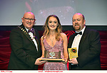 16-6-2019:  Ashton Murphy- Sarah Brown-Guys& Dolls- Londonderry Musical Society, Derry Northern Ireland  winner of the Best Female Singer award at the annual AIMS (Association of Irish Musical Societies) in the INEC Killarney at the weekend receiving the trophy from Seamus Power, President, AIMS left and Rob Donnelly, Vice-President.<br /> Photo: Don MacMonagle - macmonagle.com<br /> <br /> repro free photo from AIMS<br /> <br /> AIMS PRESS RELEASE: There was plenty of glitz and glamour in Killarney on Saturday night as The Association of Irish Musical Societies has its Annual Awards Ceremony in Killarney. Over 1,500 people could be heard over the Kerry mountains as the winners were announced by MC Fergal D'Arcy. Many societies were double winners on the night including UCD Musical Society, Dublin were dancing all the way to the trophies winning Best Choreography and Best Choreographer for Leah Meagher for Cabaret and  Tullamore Musical Society who took their moment as Chris Corroon won Best Male Singer for his sinful performance as Henry Jekyll in Jekyll &Hyde and also Director Paul Norton who'd plenty to celebrate picking Best Director for  the same show. The moment was once again taken by Jekyll&Hyde by Dùn Laoighaire Musical&Dramatic Society as Kevin Hartnett took up Best Male Singer in the Sullivan category.Nenagh Youth Musical Society raised their voices high and took home Best Ensemble. It was a superior night for Enniscorthy Musical Society by winning Best Comedienne for Jennifer Byrne as Mother Superior and Best Technical too. Portlaoise Musical Society rose to the top by taking home Best Overall Show in the Gilbert section for their stunning production of Titanic. Oyster Lane Theatre Group, Wexford flew their flag high taking home Best Overall Show in the Sullivan Section for their breathtaking production of Michael Collins-a Musical Drama.<br /> Other winners on the night included Best Comedian for Ronan Walsh as Officer Lockstock in Urinetown for Trim Musical Society, Best Actress in