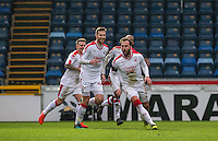 Celebrations as Josh Payne (2nd left) of Crawley Town acres the winning goal during the Sky Bet League 2 match between Wycombe Wanderers and Crawley Town at Adams Park, High Wycombe, England on 25 February 2017. Photo by Andy Rowland / PRiME Media Images.