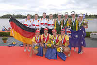 Brandenburg, GERMANY,  BW4X  medalist  at the 2008 FISA U23 World Rowing Championships, Sunday, 20/07/2008, [Mandatory credit: Peter Spurrier Intersport Images]..... Rowing Course: Brandenburg, Havel Rowing Course, Brandenburg, GERMANY