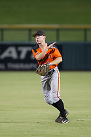 AZL Giants second baseman Kyle McPherson (7) makes a throw to first base against the AZL Cubs on September 6, 2017 at Sloan Park in Mesa, Arizona. AZL Giants defeated the AZL Cubs 6-5 to even up the Arizona League Championship Series at one game a piece. (Zachary Lucy/Four Seam Images)
