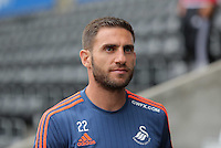 Pictured: Angel Rangel of Swansea arrives Sunday 30 August 2015<br /> Re: Premier League, Swansea v Manchester United at the Liberty Stadium, Swansea, UK