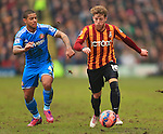 Billy Clarke of Bradford escapes Liam Bridcutt of Sunderland - Bradford City vs. Sunderland - FA Cup Fifth Round - Valley Parade - Bradford - 15/02/2015 Pic Philip Oldham/Sportimage