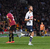 Preston North End's Tom Barkhuizen celebrates scoring his team's third try<br /> <br /> Photographer Dave Howarth/CameraSport<br /> <br /> The Carabao Cup First Round - Bradford City v Preston North End - Tuesday 13th August 2019 - Valley Parade - Bradford<br />  <br /> World Copyright © 2019 CameraSport. All rights reserved. 43 Linden Ave. Countesthorpe. Leicester. England. LE8 5PG - Tel: +44 (0) 116 277 4147 - admin@camerasport.com - www.camerasport.com