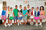 At Merrick Post #1282 of American Legion barbecue for Veterans from New York State Nursing Home at Stony Brook NY, Irish step dancers from the Hagen School of Irish Dance performed, shown here with (starting 4th from left) Legislator Dave Denenberg, Adjutant Robert Tom Riordan PPC (Past County Commander), Merrick Auxiliary Unit 1282 member Claudia Borecky, and Commander Ed Sholaner, on August, 13, 2011, in Merrick, New York, USA. Photo © 2011 Ann Parry, All rights reserved. Ann-Parry.com
