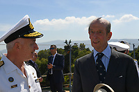 Pictured: Prince Edward (R). Saturday 18 May 2019<br /> Re: Prince Edward, Duke of Kent visits cruiser Georgios Averof at Palaio Faliro, Athens, Greece
