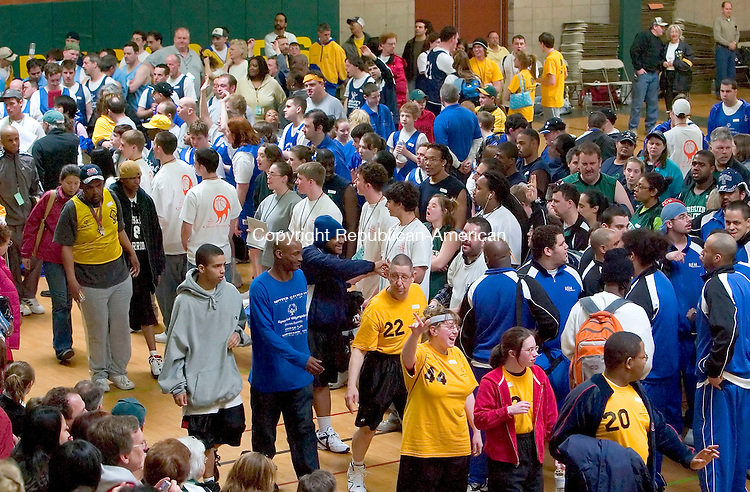 WATERBURY, CT--24 MARCH 2007--032407JS11-Athletes make their way into the gym Special Olympics Connecticut-Northwest Region's 2007 Traditional Basketball Invitational held at Holy Cross High School in Waterbury. The tournamnet was held at a total of five schools in the city of Waterbury.