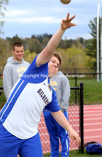 LITCHFIELD CT. 09 May 2017-050917SV09-Jacob Krassner of Gilbert competes in the shot put during a track meet against Nonnewaug High and Gilbert in Litchfield Tuesday. <br /> Steven Valenti Republican-American