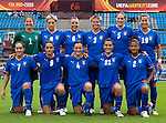 Italy, QF, Germany-Italy, Women's EURO 2009 in Finland, 09042009, Lahti Stadium. Back row from left: Anna Maria Picarelli, Melania Gabbiadini, Viviana Schiavi, Elisabetta Tona, Carolina Pini. Front row from left: Giulia Domenichetti, Patrizia Panico, Alessia Tuttino, Marta Carissimi, Sara Gama.
