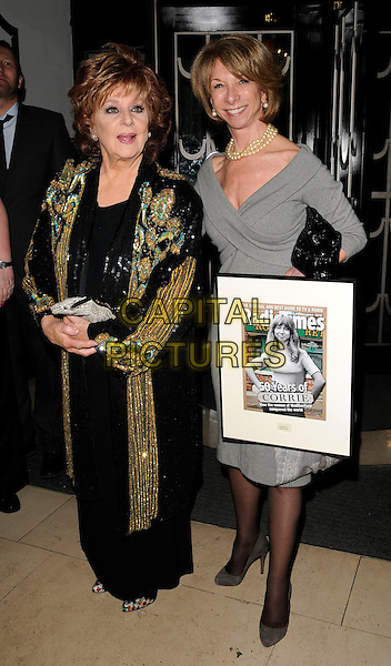 BARBARA KNOX & HELEN WORTH .At the Radio Times Covers party, Claridge's hotel, London, England, UK, 18th January 2011..full length black grey gray dress beaded dress tights shoes frame sequined sequin beaded  clutch bag.CAP/CAN.©Can Nguyen/Capital Pictures.