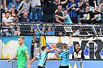 05.08.2019, Carl-Benz-Stadion, Mannheim, GER, 3. Liga, SV Waldhof Mannheim vs. TSV 1860 Muenchen, <br /> <br /> DFL REGULATIONS PROHIBIT ANY USE OF PHOTOGRAPHS AS IMAGE SEQUENCES AND/OR QUASI-VIDEO.<br /> <br /> im Bild: Valmir Sulejmani (SV Waldhof Mannheim #9) und Gianluca Korte (SV Waldhof Mannheim #17) jubeln ueber das Tor zum 2:0<br /> <br /> Foto © nordphoto / Fabisch