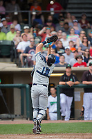 West Michigan Whitecaps catcher Drew Longley (14) settles under a foul pop fly during the game against the Dayton Dragons at Fifth Third Field on May 29, 2017 in Dayton, Ohio.  The Dragons defeated the Whitecaps 4-2.  (Brian Westerholt/Four Seam Images)