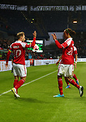 June 6th 2017, Brondby Stadium, in Brondby, Copenhagen, Denmark;  Denmark's Christian Eriksen (L), who scored the goal for 1:0, celebrates with teammate Yussuf Yurary Poulsen during the international soccer match between Denmark and Germany at the Brondby Stadium