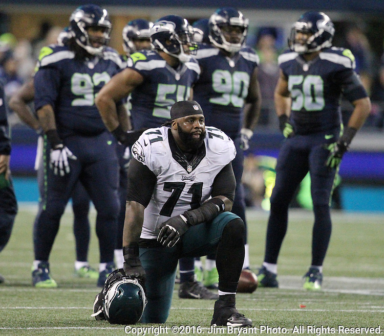 Philadelphia Eagles tackle Jason Peters (71) takes a knee during an injury time out at CenturyLink Field in Seattle, Washington on November 20, 2016.  Seahawks beat the Eagles 26-15.  ©2016. Jim Bryant Photo. All Rights Reserved.