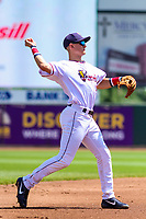 Cedar Rapids Kernels third baseman Andrew Bechtold (7) throws to first base during a Midwest League game against the Clinton LumberKings on May 28, 2018 at Perfect Game Field at Veterans Memorial Stadium in Cedar Rapids, Iowa. Clinton defeated Cedar Rapids 4-3. (Brad Krause/Four Seam Images)