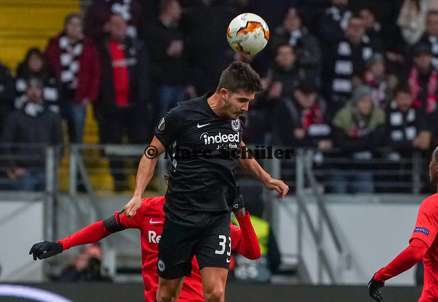 Kopfball Andre Silva (Eintracht Frankfurt) - 20.02.2020: Eintracht Frankfurt vs. RB Salzburg, UEFA Europa League, Hinspiel Round of 32, Commerzbank Arena DISCLAIMER: DFL regulations prohibit any use of photographs as image sequences and/or quasi-video.