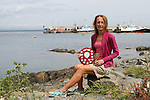 """Trudy Brown with her Ladies 1st place at the Clogherhead """"Round the Head Swim"""".....(Photo credit should read Jenny Matthews/NEWSFILE)..."""