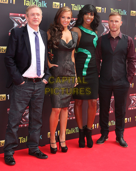 LOUIS WALSH, TULA 'TULISA' CONTOSTAVLOS, KELLY ROWLAND & GARY BARLOW.X Factor 2011 Series Press Launch, Vue cineworld cinema, O2 Arena, Greenwich, London, England..August 17th, 2011.full length black sleeveless dress ankle boots green grey gray cleavage mary janes gold silver cuff bracelet pattern trousers purple shirt white shirt tie jeans denim hands in pockets .CAP/ROS.©Steve Ross/Capital Pictures