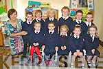 Pupils at Baradubh National School, Niamh Cantillon, Portia Nagle, Jodie O'Sullivan, Maura O'Sullivan, Aoife Doyle, Stephen O'Sullivan, Neilus Cronin, Daniel Murphy, Pierce Moynihan, Mark Brosnan and Sean Forrestal pictured with their teacher Siobhan Darcy during their first day at the school on Thursday...................................................................................................