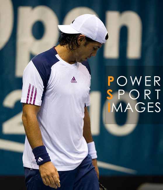BANGKOK, THAILAND - SEPTEMBER 30:  Fernando Verdasco of Spain reacts after losing a point to Benjamin Becker of Germany during the Day 6 of the PTT Thailand Open at Impact Arena on September 30, 2010 in Bangkok, Thailand. Photo by Victor Fraile / The Power of Sport Images