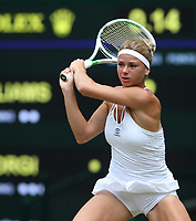 Camila Giorgi (ITA) during her defeat by Serena Williams (USA) in their Ladies' Quarter Final match<br /> <br /> Photographer Rob Newell/CameraSport<br /> <br /> Wimbledon Lawn Tennis Championships - Day 8 - Tuesday 10th July 2018 -  All England Lawn Tennis and Croquet Club - Wimbledon - London - England<br /> <br /> World Copyright &not;&copy; 2017 CameraSport. All rights reserved. 43 Linden Ave. Countesthorpe. Leicester. England. LE8 5PG - Tel: +44 (0) 116 277 4147 - admin@camerasport.com - www.camerasport.com