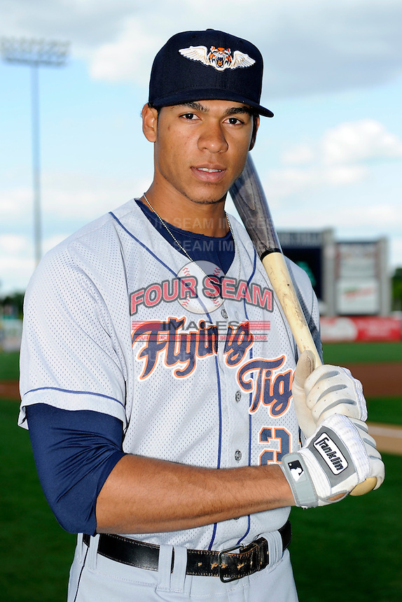 Lakeland Flying Tigers outfielder Steven Moya #21 poses for a photo before a game against the Tampa Yankees at Steinbrenner Field on April 6, 2013 in Tampa, Florida.  Lakeland defeated Tampa 8-3.  (Mike Janes/Four Seam Images)