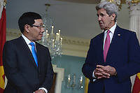 Washington, DC - March 30, 2016: U.S. Secretary of State John Kerry meets with Vietnamese Deputy Prime Minister and Foreign Minister Pham Binh Minh in the Treaty Room at the Department of State in the District of Columbia, March 30, 2016, one day ahead of the Nuclear Summit at the Washington Convention Center (Photo by Don Baxter/Media Images International)