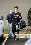 Masahiro Tanaka (Yankees),<br /> FEBRUARY 13, 2014 - MLB :<br /> New York Yankees pitcher Masahiro Tanaka arrives at the Yankees' minor league facility for his training session in Tampa, Florida, United States. (Photo by AFLO)