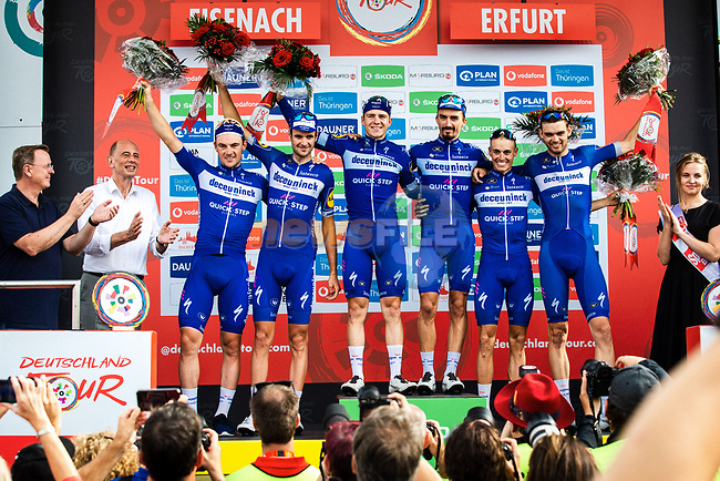 Deceuninck-Quick Step win the team classification after Stage 4 of the Deutschland Tour 2019, running 159.5km from Eisenach to Erfurt, Germany. 1st September 2019.<br /> Picture: ASO/Henning Angerer | Cyclefile<br /> All photos usage must carry mandatory copyright credit (© Cyclefile | ASO/Henning Angerer)