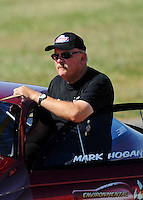 Sept. 5, 2010; Clermont, IN, USA; NHRA pro stock driver Mark Hogan during qualifying for the U.S. Nationals at O'Reilly Raceway Park at Indianapolis. Mandatory Credit: Mark J. Rebilas-