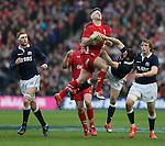 Dan Biggar of Wales catches the ball ahead of Greg Laidlaw of Scotland - RBS 6Nations 2015 - Scotland  vs Wales - BT Murrayfield Stadium - Edinburgh - Scotland - 15th February 2015 - Picture Simon Bellis/Sportimage