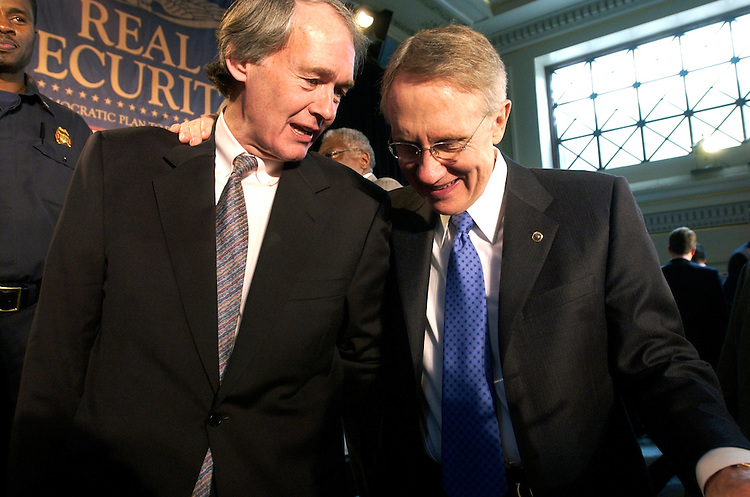 Senate Majority Leader Harry Reid, D-Nev., right, has a word with Rep. Ed Markey, D-Mass., after an event at Union Station, that unveiled the comprehensive Democratic plan to protect America called Real Security.  Democratic members of the House and Senate attended the event.