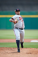Gwinnett Braves starting pitcher Luiz Gohara (52) delivers a warmup pitch during a game against the Buffalo Bisons on August 19, 2017 at Coca-Cola Field in Buffalo, New York.  Gwinnett defeated Buffalo 1-0.  (Mike Janes/Four Seam Images)