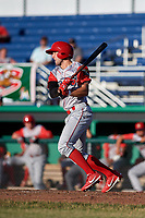 Williamsport Crosscutters right fielder Matt Vierling (28) follows through on a swing during a game against the Batavia Muckdogs on June 21, 2018 at Dwyer Stadium in Batavia, New York.  Batavia defeated Williamsport 6-5.  (Mike Janes/Four Seam Images)