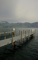 Jetties jutting on to the lake. Stätter See. Beckenried. Luzern area, Switzerland.