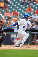 Troy Squires (16) of the Kentucky Wildcats follows through on his swing against the Sam Houston State Bearkats during game four of the 2018 Shriners Hospitals for Children College Classic at Minute Maid Park on March 3, 2018 in Houston, Texas. The Wildcats defeated the Bearkats 7-2.  (Brian Westerholt/Four Seam Images)