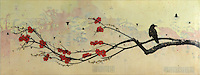 Encaustic painting over antique map with photography of raven in branch with cherry blossoms.