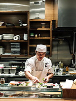 Izakaya Den Restaurant in Denver, Colorado, Thursday, August 24, 2017. Dishes include a sake steamed duck breast and toro with heirloom tomato and fennel salad.<br /> <br /> Photo by Matt Nager
