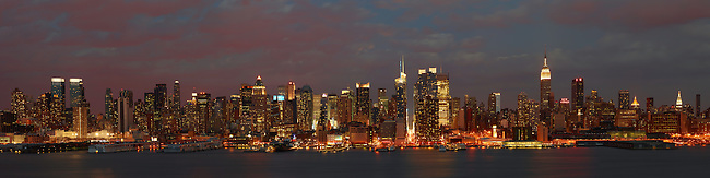 Sunset glows on New York City as seen from Weehawken, NJ.
