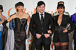 Taiwan born fashion designer Malan Breton poses with models at the close of his Malan Breton Spring 2014 collection fashion show, during the Celebrate Taiwan @ Grand Central Terminal event on September 28, 2013.