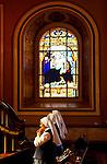 Costa Rica, San Jose, Metroplitan Cathedral, National Cathedral, Stain Glass, Nuns Praying