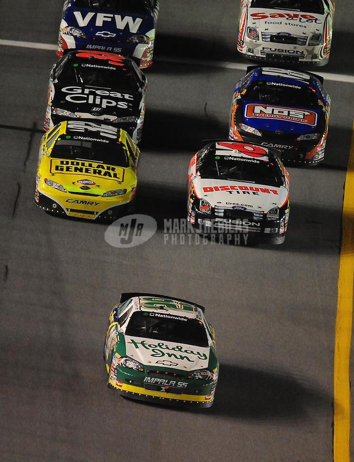 Jul. 3, 2009; Daytona Beach, FL, USA; NASCAR Nationwide Series driver Clint Bowyer (29) leads the field during the Jalapeno 250 at Daytona International Speedway. Mandatory Credit: Mark J. Rebilas-