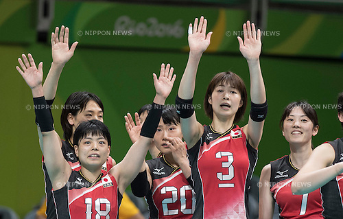 Kotoki Zayasu, Kanami Tashiro, Saori Kimura, Mai Yamaguchi (JPN),<br /> AUGUST 8, 2016 - Volleyball : <br /> Women's Preliminary Pool A <br /> between Japan 3-0 Cameroon <br /> at Maracanazinho <br /> during the Rio 2016 Olympic Games in Rio de Janeiro, Brazil.<br /> (Photo by Enrico Calderoni/AFLO SPORT)